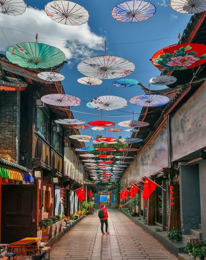 Solo żeńska podróż w porcelanie, przy Shuhe starym miasteczkiem, Lijiang, Yunnan, Chiny zdjęcie royalty free