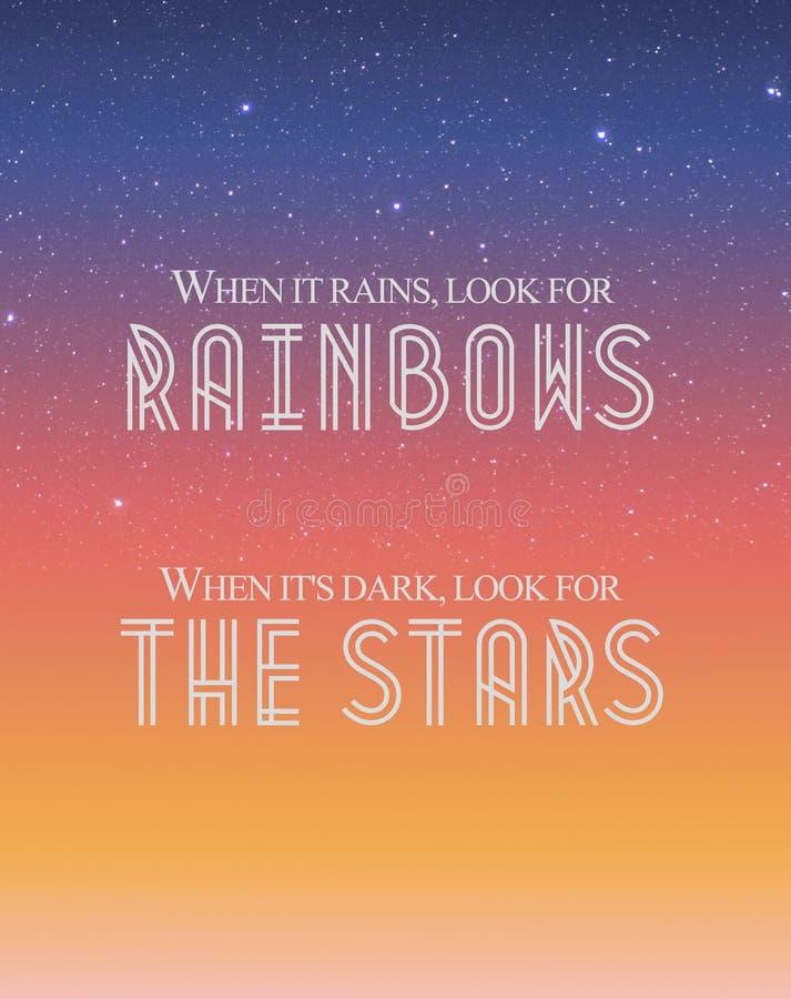 '当下雨时,寻找彩虹' 向量例证