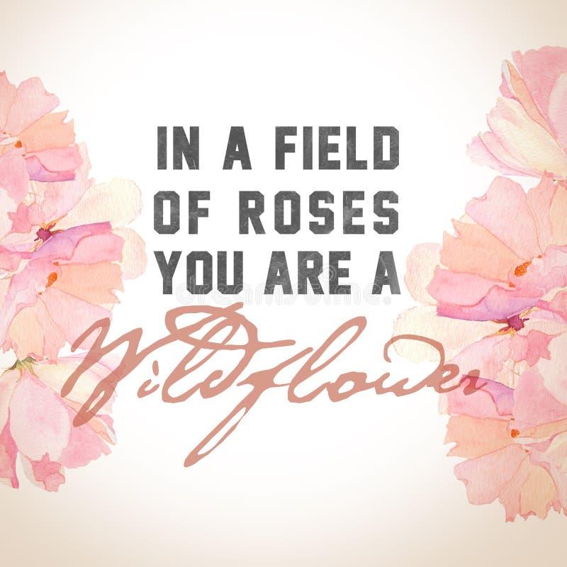 'Em um campo da cópia das rosas ilustração royalty free