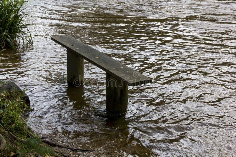 'The Seat' bagnato - banco della riva del fiume oltre al fiume sommerso Torridge, Torrington, Devon, Inghilterra fotografie stock