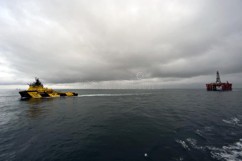 27.12.2014 – Towing of Byford Dolphin. royalty free stock images
