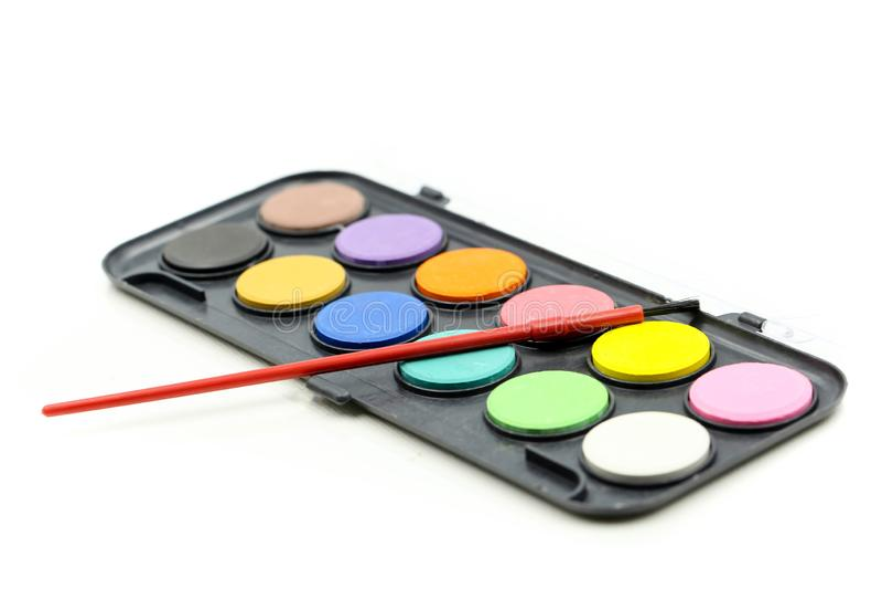 †‹zbliżenie Ustawiający akwareli paintbrushes dla paintin i farby zdjęcie royalty free