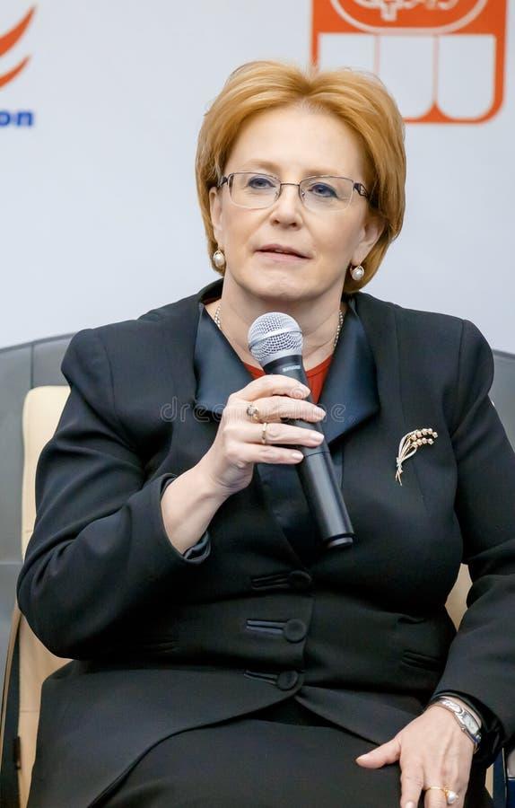€ de la Russie, Moscou «le 22 mars 2016 : Ministre de la Santé Veronika Skvortsova de Fédération de Russie photographie stock