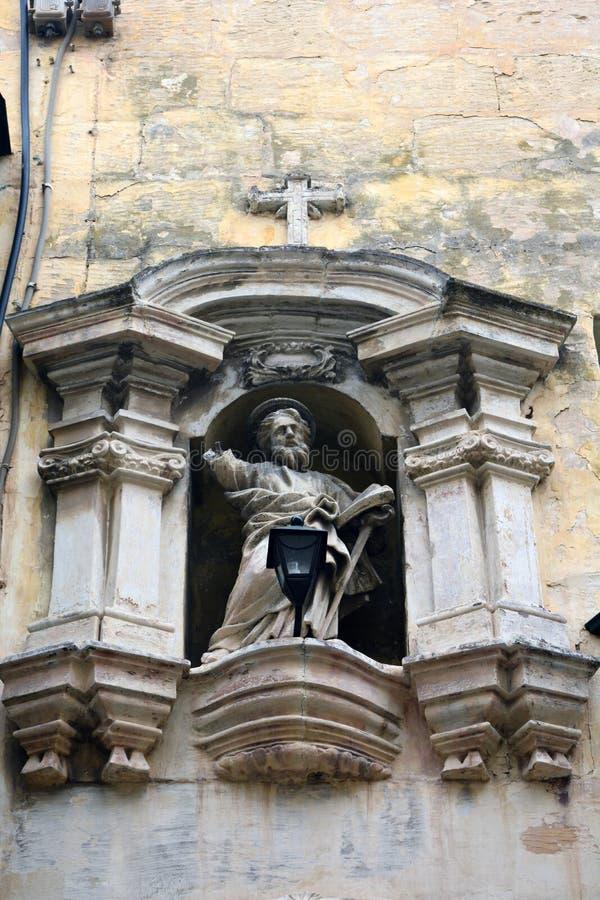 """€ de Rabat, Malta """"1 de febrero de 2016 Estatua religiosa en una calle de Rabat en Malta fotografía de archivo libre de regalías"""
