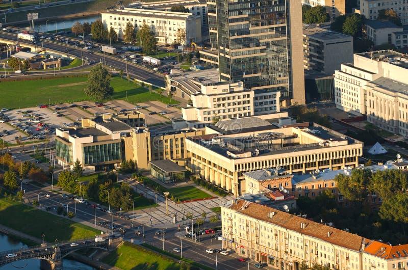"""€ de VILNIUS, LITUÂNIA """"17 de setembro de 2014: A construção lituana do parlamento fotografia de stock"""
