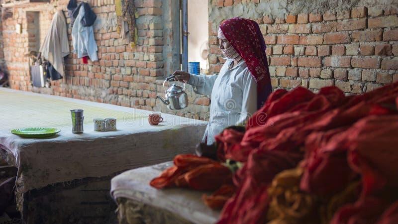 """€ di JAIPUR, Ragiastan, India """"dicembre 2016: Donna indiana che versa Tra fotografia stock libera da diritti"""