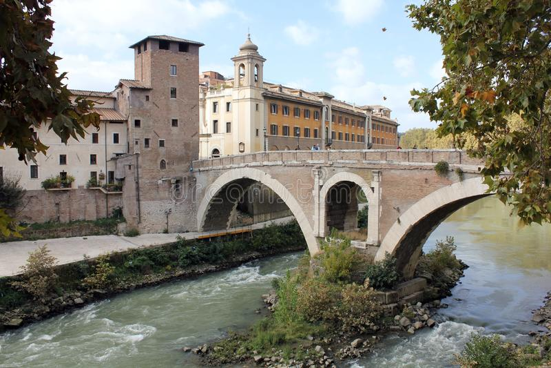 € «Ponte Fabricio de Rome image stock
