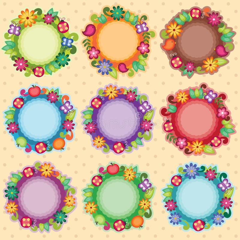 Funky Floral Frames vector illustration