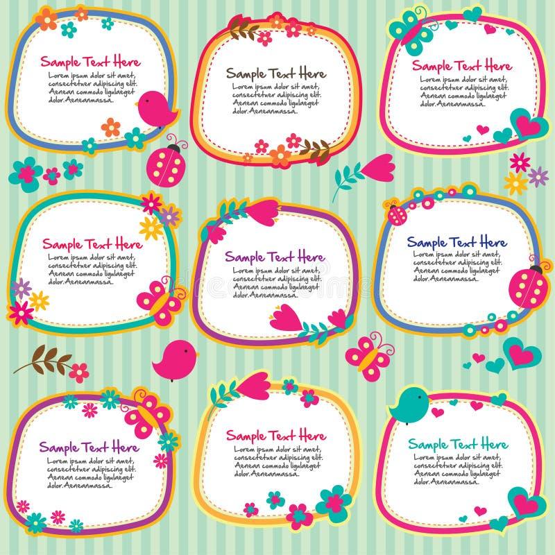 Spring floral frames set royalty free illustration