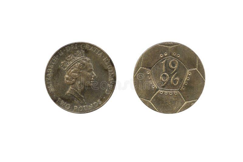 £2 νόμισμα δύο λιβρών - ευρωπαϊκό πρωτάθλημα 1996 ποδοσφαίρου, στο whi στοκ φωτογραφίες