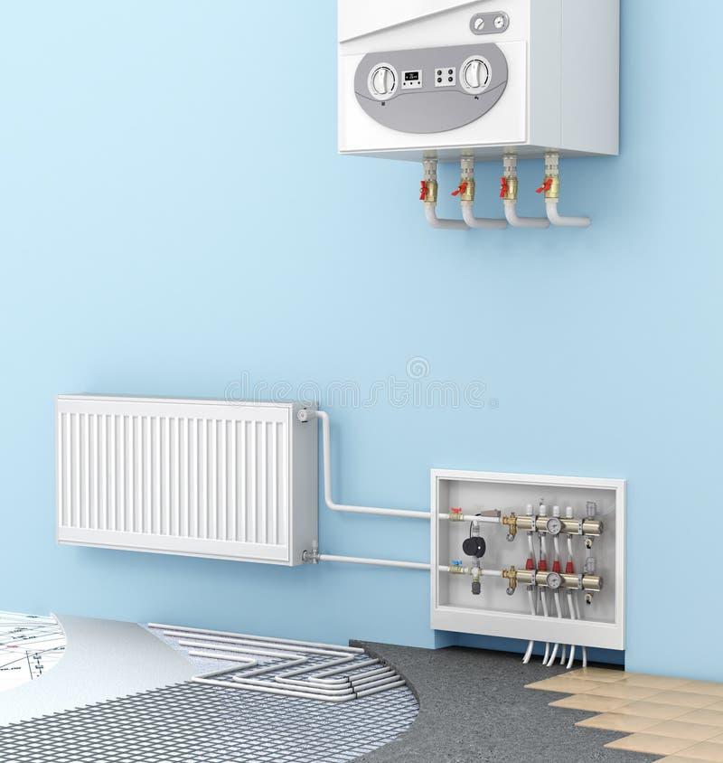 das Konzept des warmen Bodens in einem Raum mit einem an der Wand befestigten boile lizenzfreie abbildung