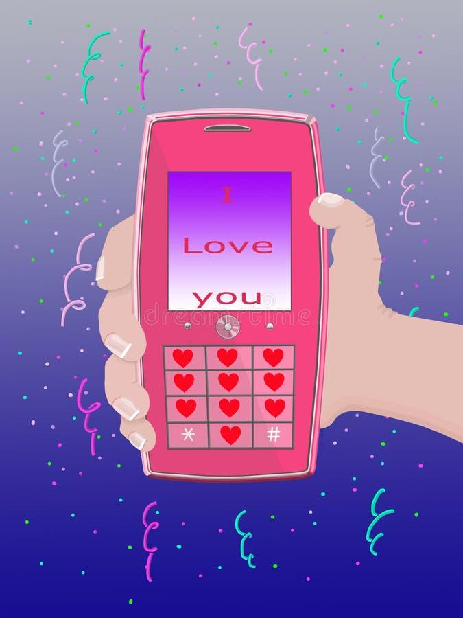 del â del teléfono móvil te amo stock de ilustración