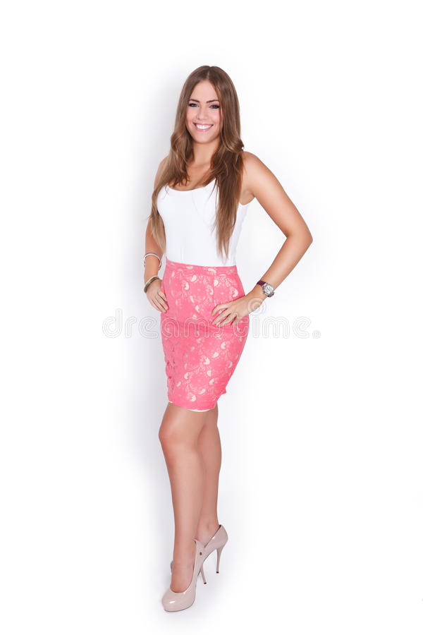 Full length portrait of a beautiful young woman stock image