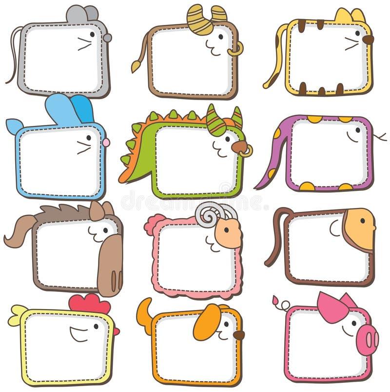 Chinese dierenriem dierlijke kaders stock illustratie