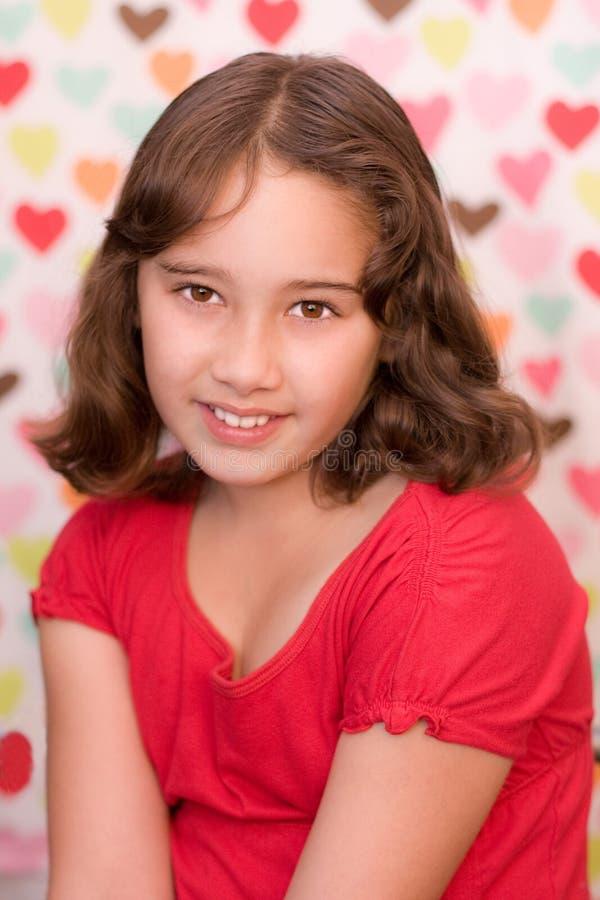Âge huit de fille de Valentine photographie stock