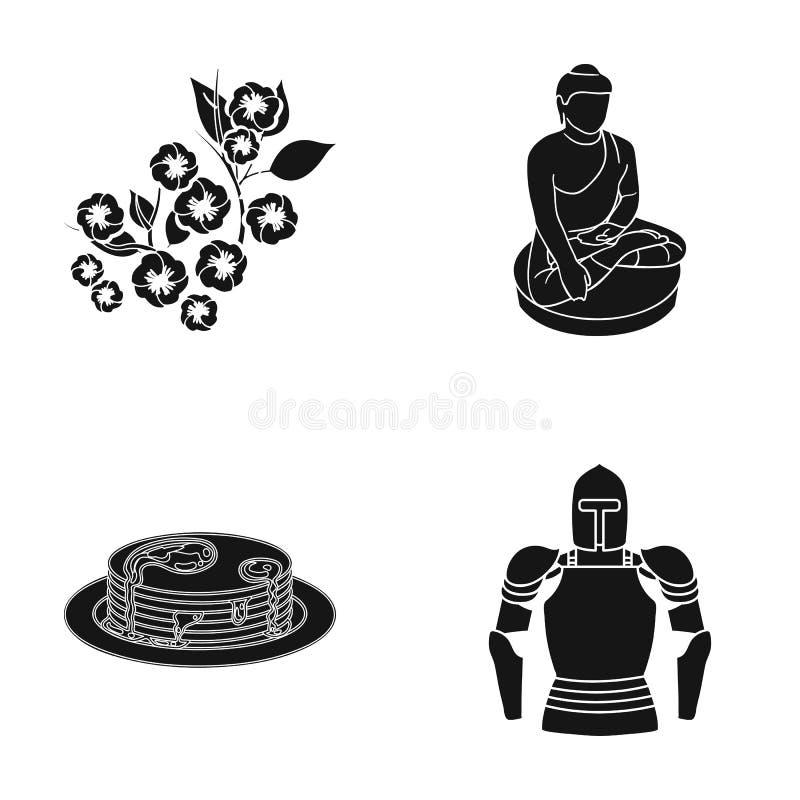 Âges, histoire, musée et toute autre icône de Web dans le style noir casque, métal, icônes moyennes dans la collection d'ensemble illustration stock