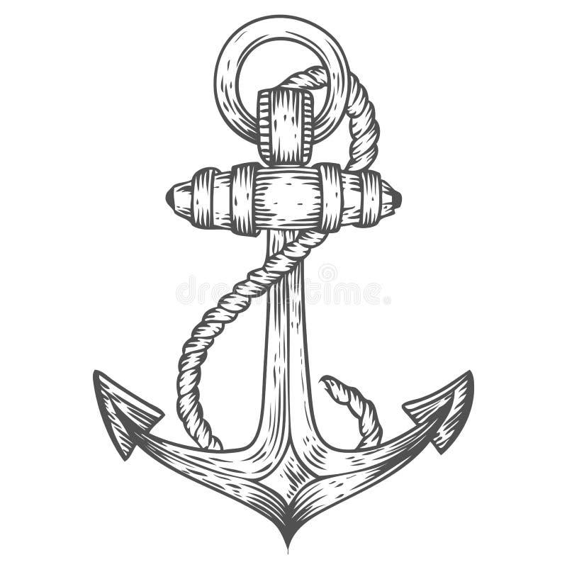 Âncora com ilustração náutica tirada mão do vetor do esboço da gravura da corda Equipamento marinho do vintage retro Etiqueta da  ilustração royalty free