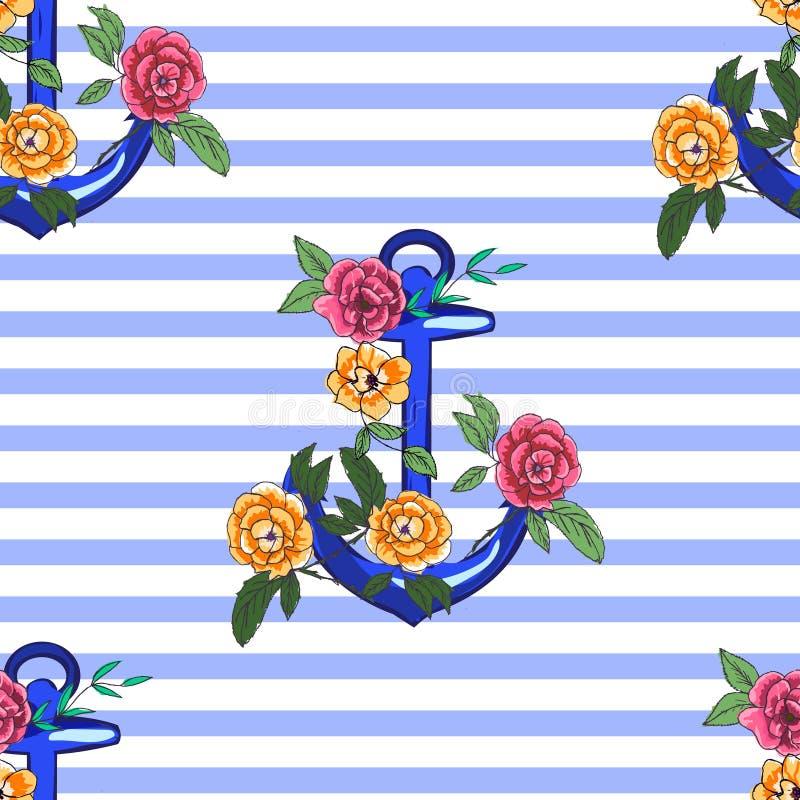 Âncora com rosas foto de stock royalty free