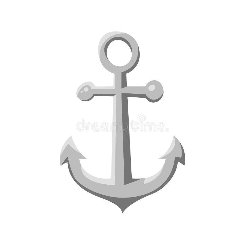 Âncora do navio do estilo dos desenhos animados do vetor Ícone para a Web Isolado no fundo branco ilustração royalty free