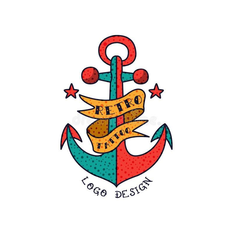 A âncora, a fita e o logotipo retro da tatuagem das palavras projetam, ilustração americana clássica do vetor da tatuagem da velh ilustração royalty free