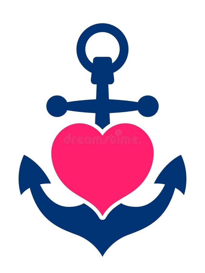 Âncora marinha azul com um coração cor-de-rosa ilustração do vetor