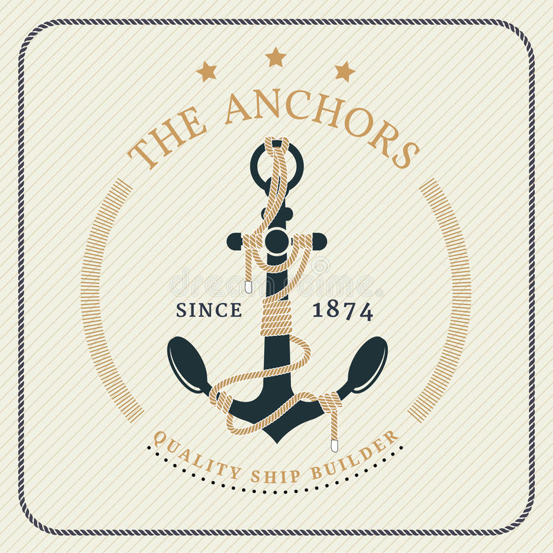 Âncora náutica do vintage e etiqueta amarrada da corda ilustração stock