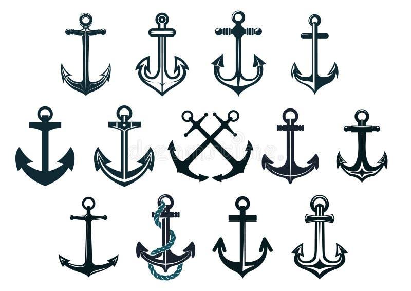Âncoras do fuzileiro naval do vintage ilustração do vetor