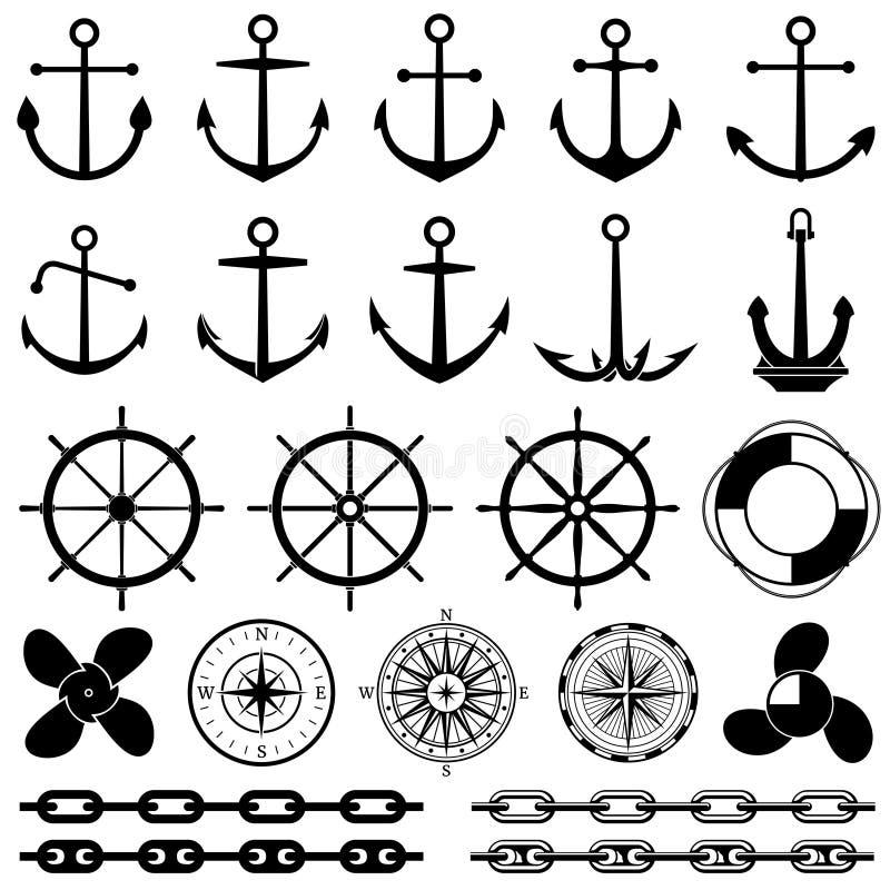 Âncoras, lemes, corrente, corda, ícones do vetor do nó Elementos náuticos para o projeto marinho ilustração stock