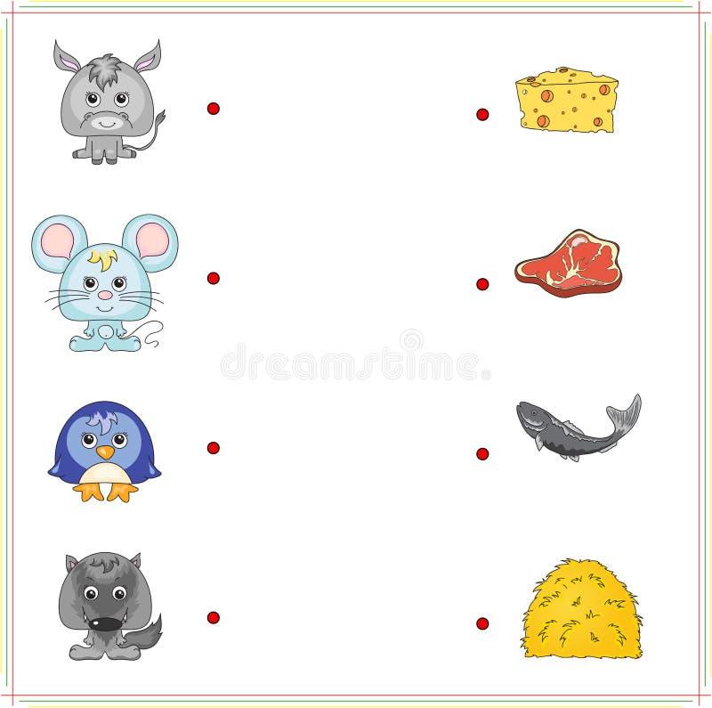 Âne, souris, pingouin et loup avec leur nourriture (fromage, viande, f illustration de vecteur