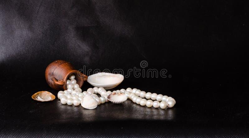 Ânfora antiga, shell tropical do mar e pérolas sobre o preto foto de stock royalty free