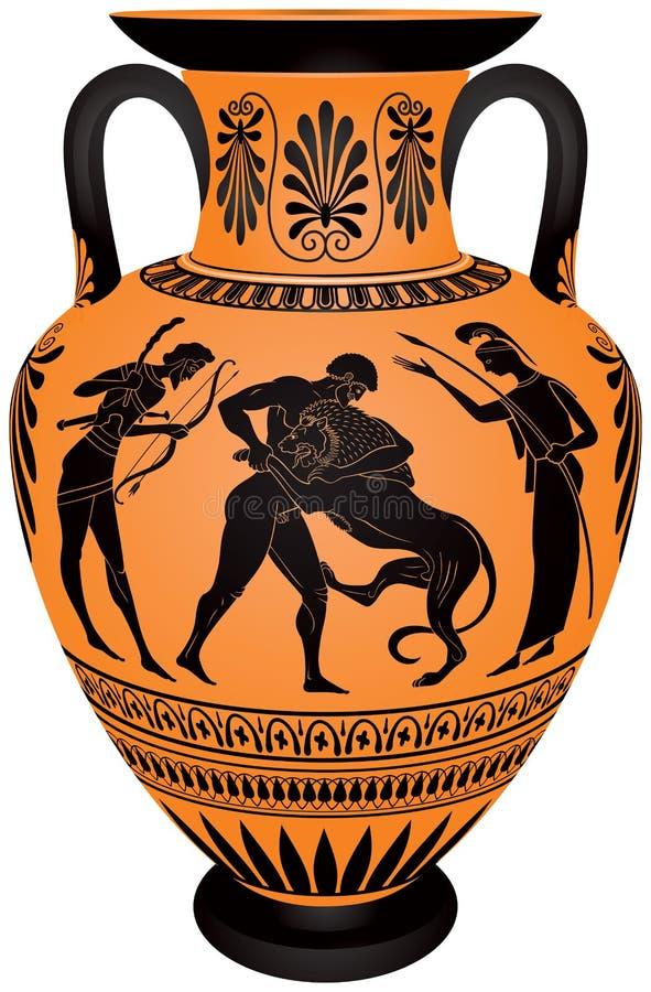 Ânfora Hercules Fighting The Nemean Lion ilustração do vetor