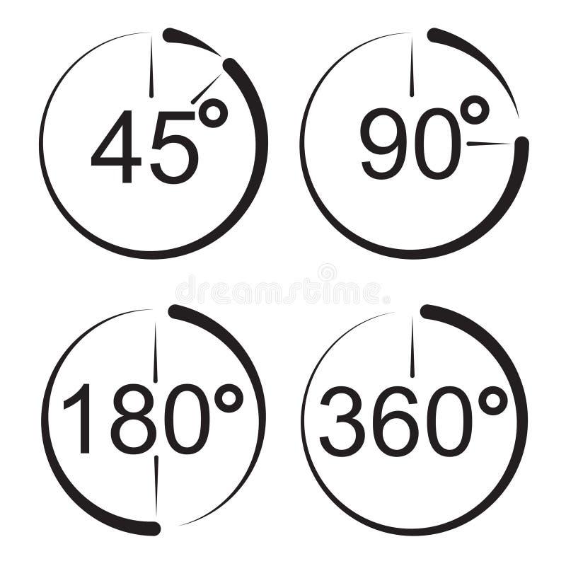 Ângulo 45 90 180 ícones de 360 graus ilustração royalty free