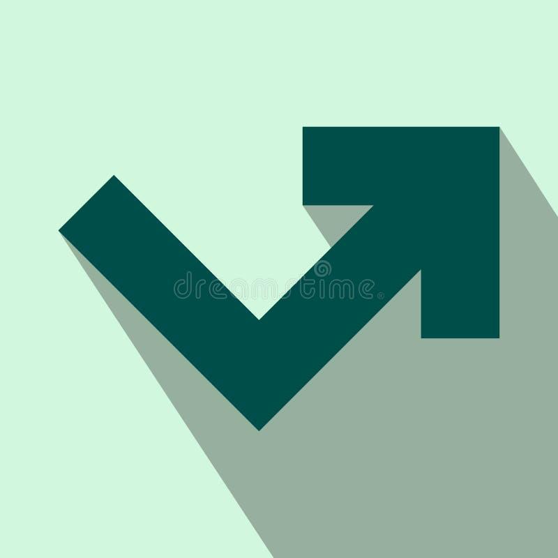 Ângulo da seta que gira para o ícone liso direito ilustração do vetor