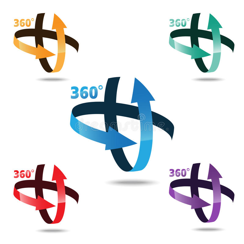 Ângulo 360 graus de ícone do sinal ilustração stock