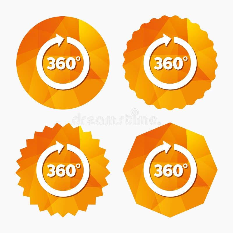 Ângulo 360 graus de ícone do sinal Símbolo da matemática da geometria ilustração royalty free