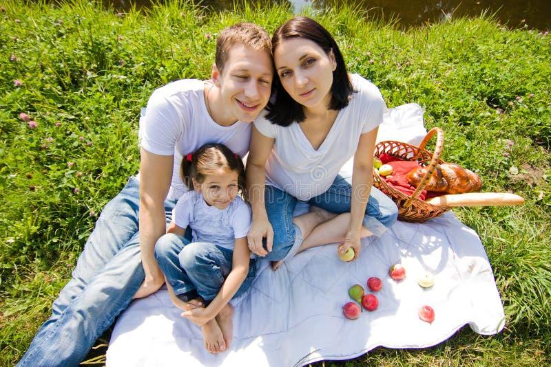 Ângulo largo do piquenique da família fotografia de stock royalty free