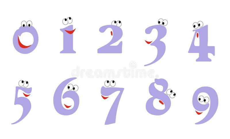 Ð ¡数字的artoon例证从零的到九与眼睛和微笑 为计数教育设置的象:零,一,两,三, 库存例证