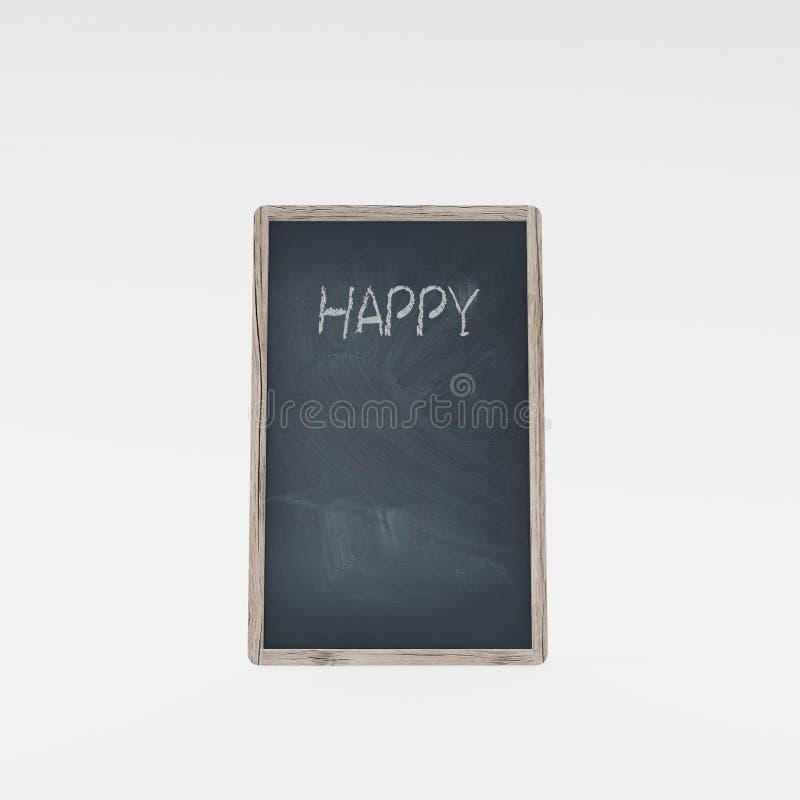 Ð-¡ halk Brett mit dem Wort 'glücklich ' lizenzfreie abbildung