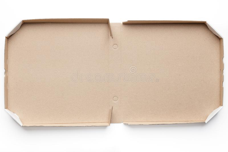 Öffnen Sie Papppizzakasten auf weißem Hintergrund lizenzfreie stockbilder