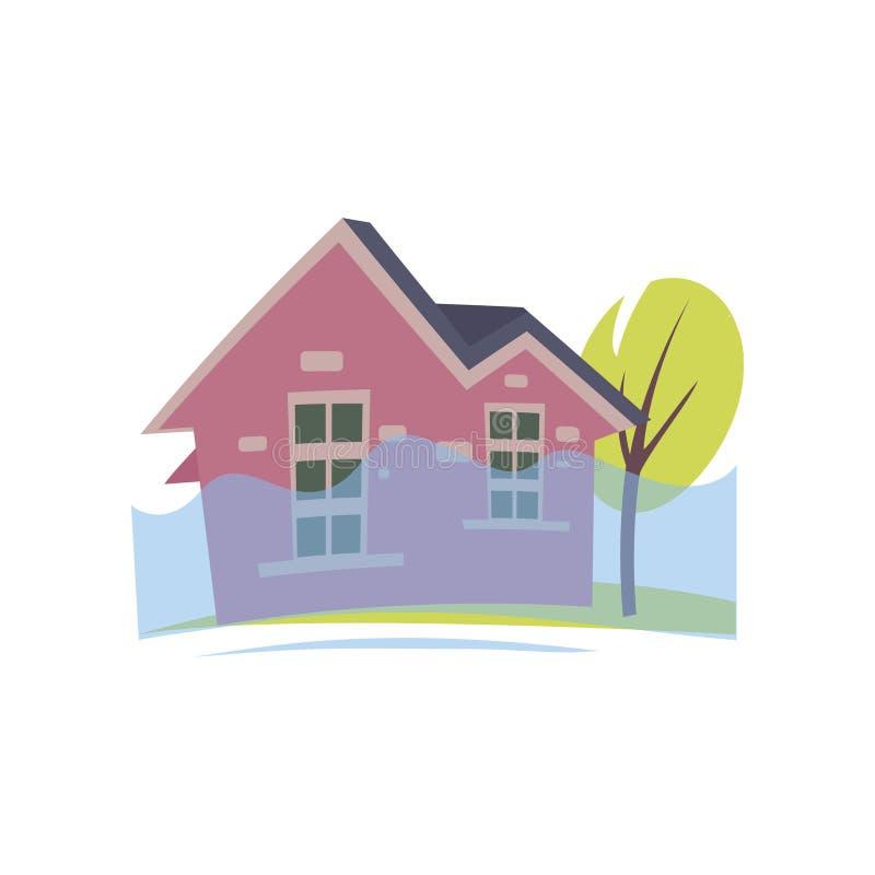 Überschwemmung rosa Haus mit steigendem Wasser bis zum Fenster lokalisiert auf weißem Hintergrund stock abbildung