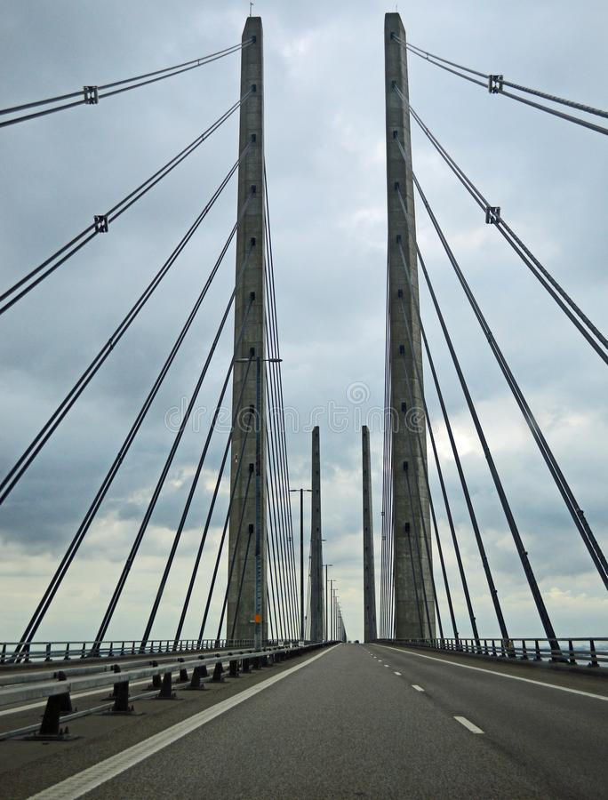 Øresund桥梁在一风暴日 免版税图库摄影