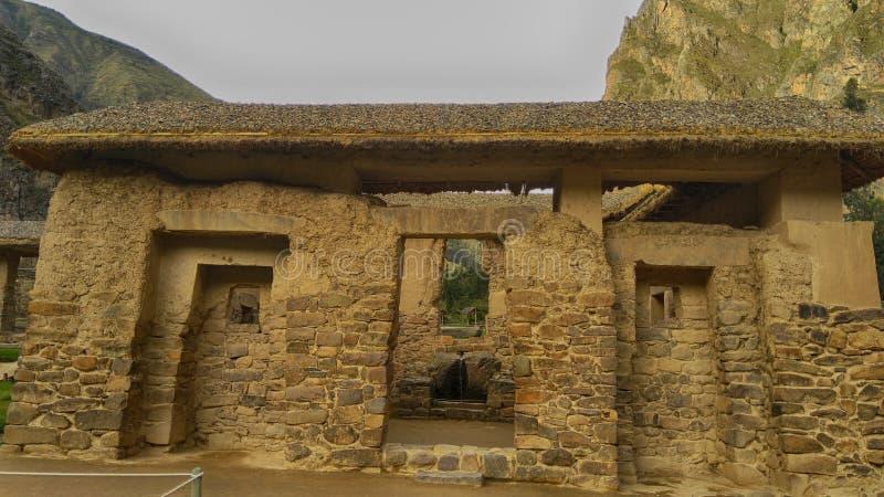Ã的议院在Ollantaytambo考古学复合体的'usta Incaica  库存照片