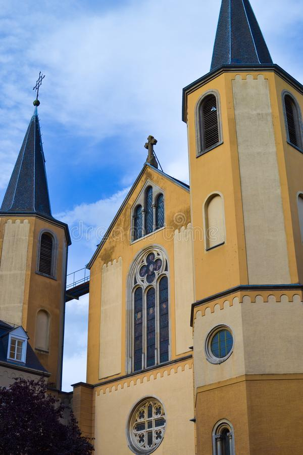 Ã ‰ glise圣徒阿方斯圣徒阿方斯教会在Luxembour市,卢森堡,欧洲 免版税库存图片