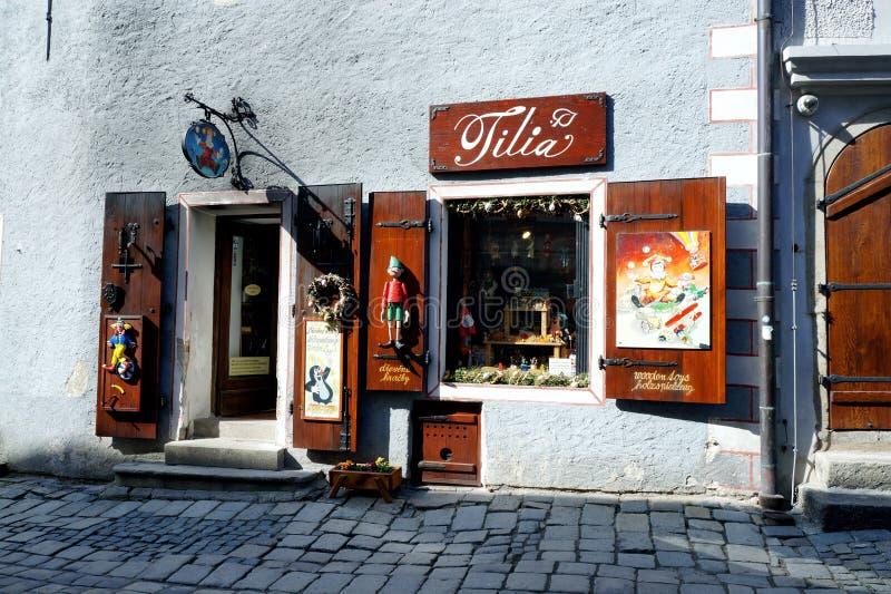 Český Krumlov city. Shop doors and windows in Český Krumlov city royalty free stock photos
