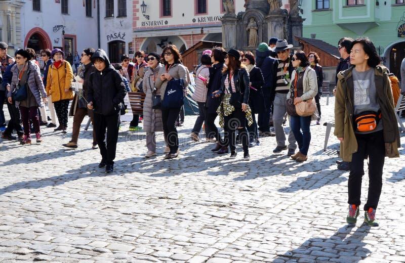 Český Krumlov city. Tourists in Český Krumlov city in spring stock photography