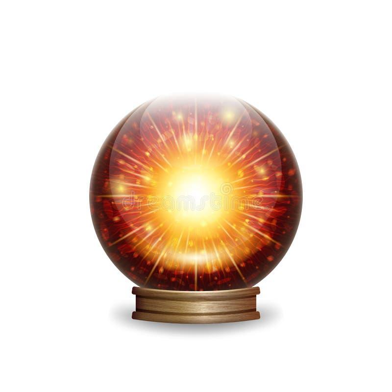 不可思议的与光的火水晶球 皇族释放例证