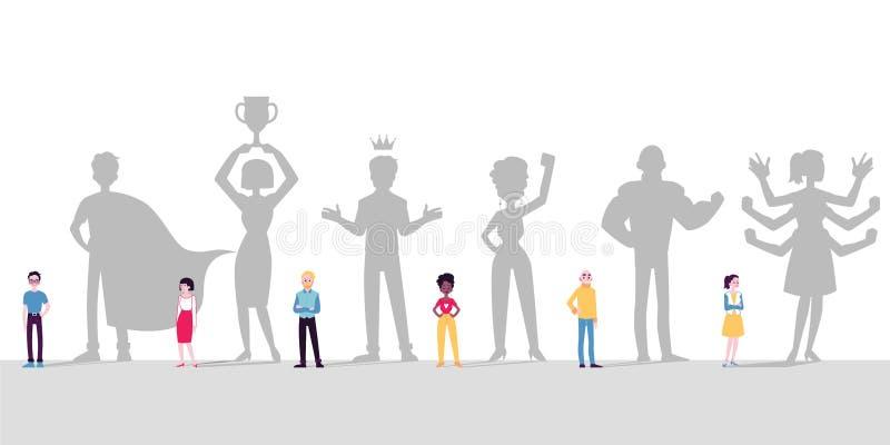 不同的人民、男人和妇女想象自己是超级英雄 库存例证