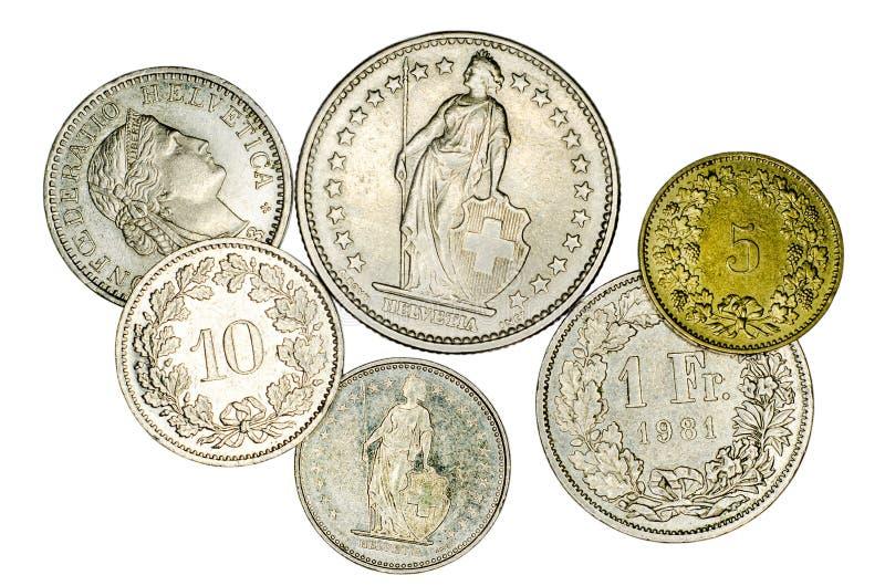 不同的瑞士法郎硬币 图库摄影