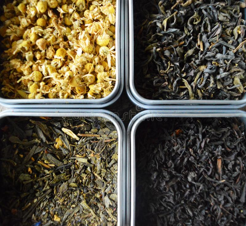 不同的茶类型 库存照片