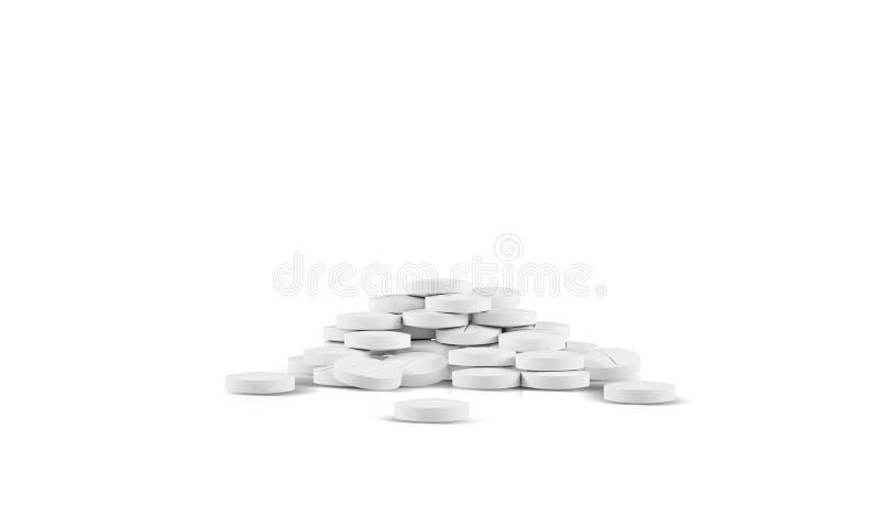 不同的配药医学药片、片剂和胶囊在白色背景 背景弄脏了关心概念表面健康防护屏蔽的药片 3d例证回报 向量例证